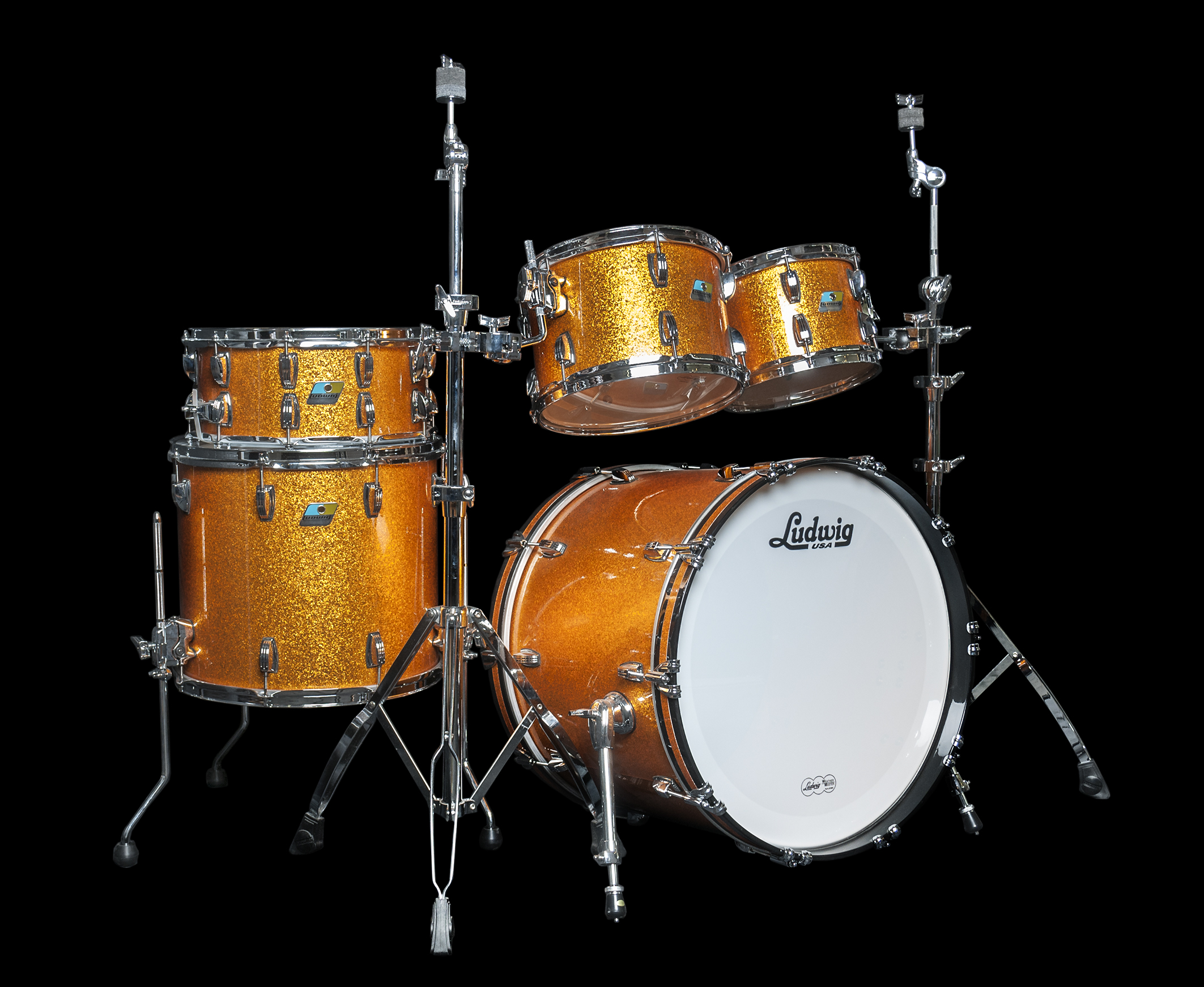 Ludwig classic maple 5 pc drum kit in gold sparkle for Classic house drums