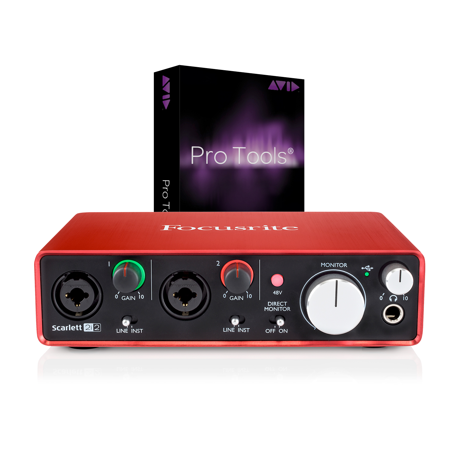 focusrite scarlett 2i2 2nd gen new 2016 w pro tools 12 full version open box ebay. Black Bedroom Furniture Sets. Home Design Ideas