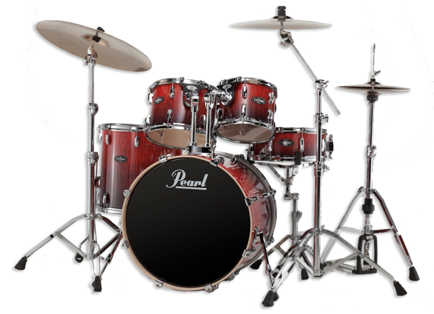 pearl vision vba series 5 piece drumset in ruby fade euc. Black Bedroom Furniture Sets. Home Design Ideas