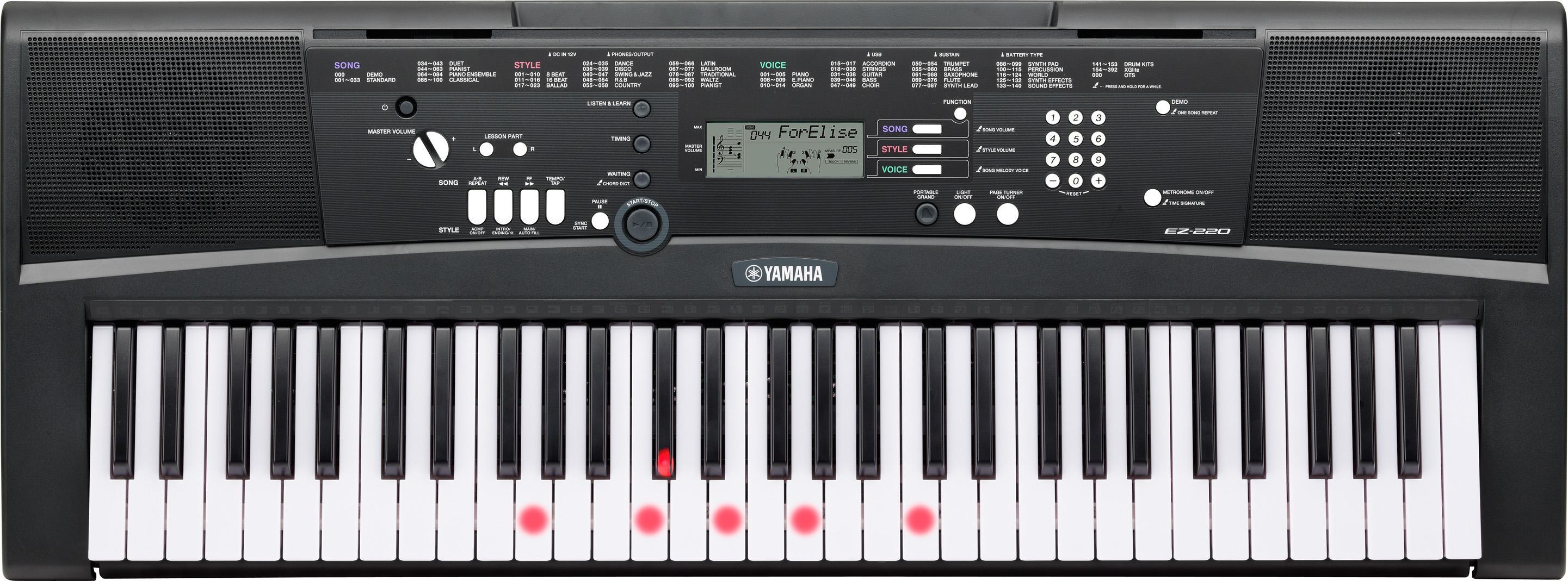 yamaha ez 220 61 key lighted key portable keyboard. Black Bedroom Furniture Sets. Home Design Ideas