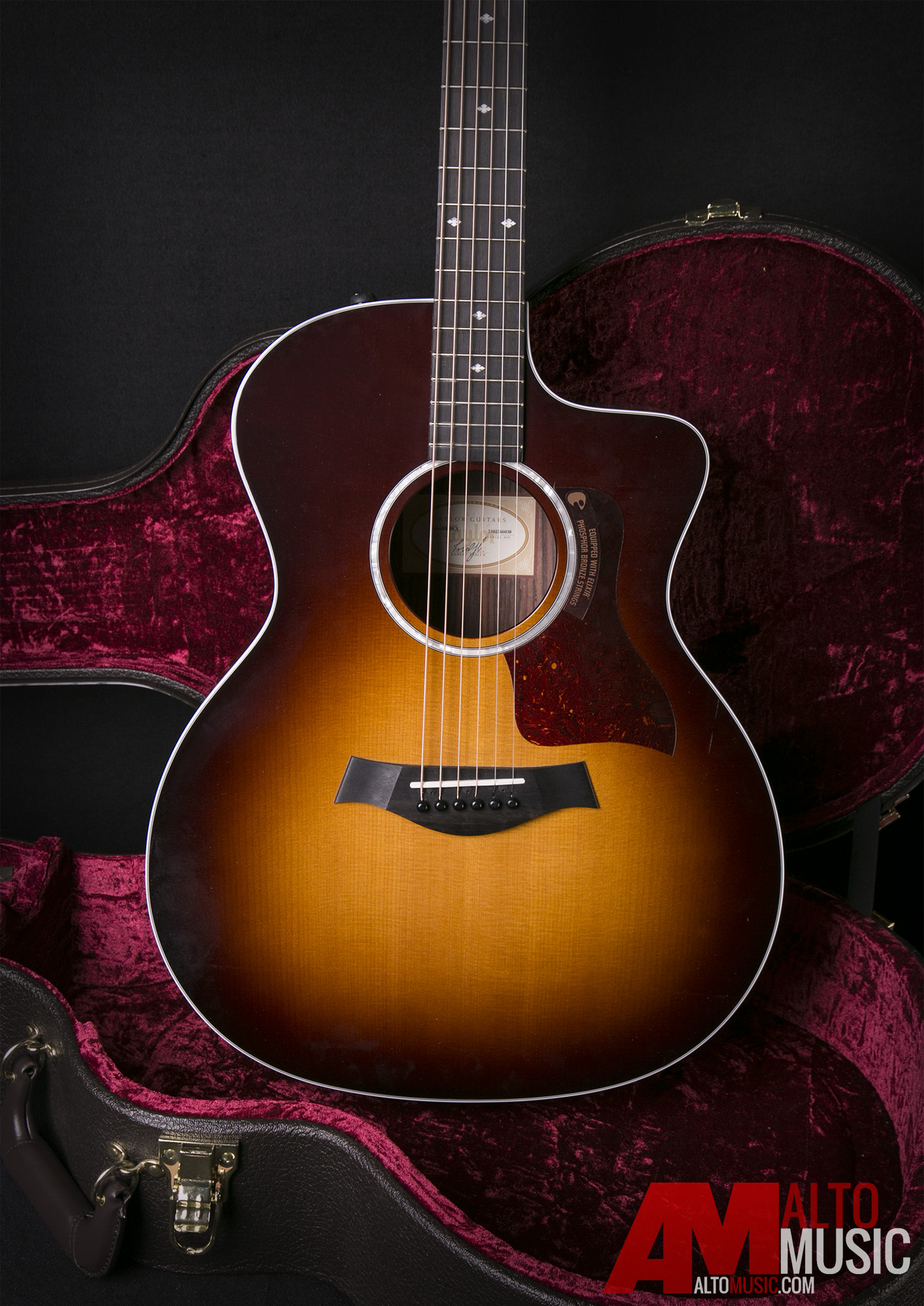 taylor 214ce dlx grand auditorium sunburst acoustic electric guitar ebay. Black Bedroom Furniture Sets. Home Design Ideas