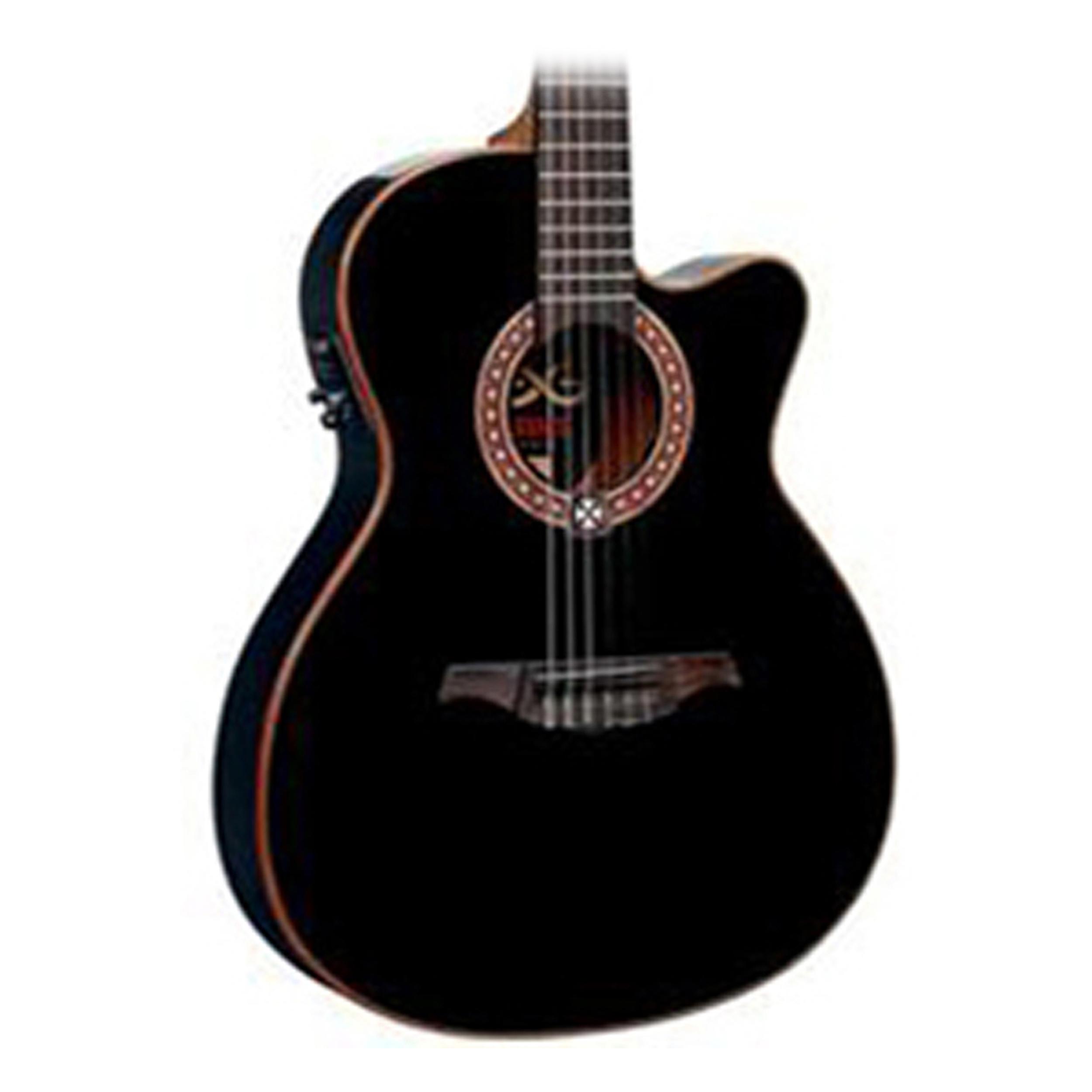 lag oc114ace nylon slim line acoustic electric guitar black ebay. Black Bedroom Furniture Sets. Home Design Ideas