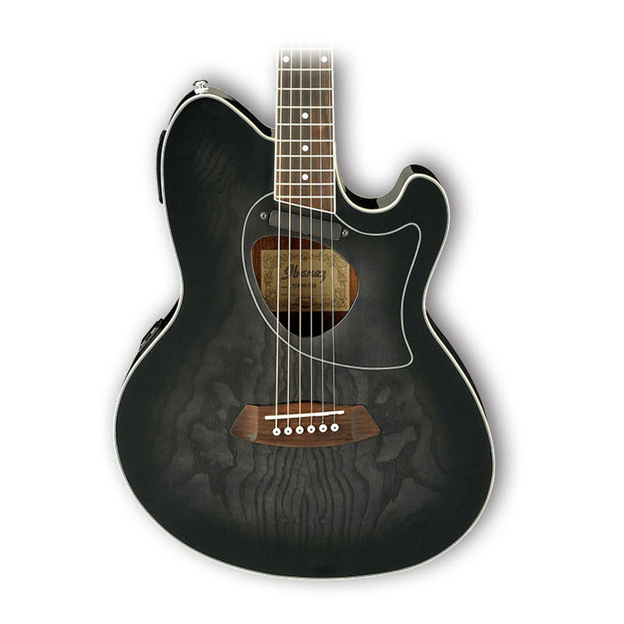 ibanez tcm50tks talman acoustic electric double cutaway transparent black ebay. Black Bedroom Furniture Sets. Home Design Ideas