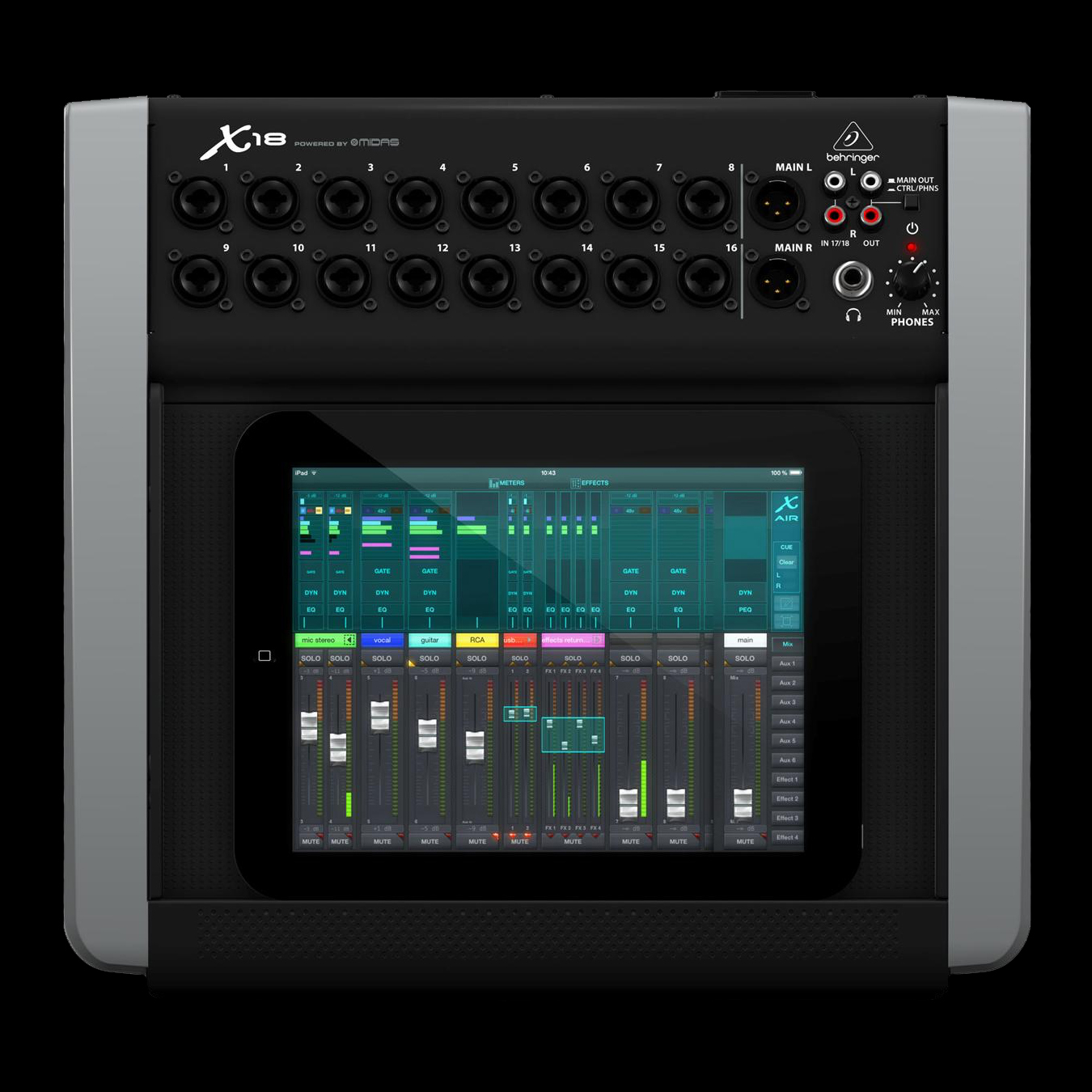 behringer x18 16 channel usb audio interface for ios. Black Bedroom Furniture Sets. Home Design Ideas