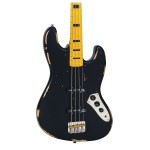 Vintage Icon V74MRBK Jazz Bass In Distressed Black