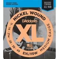 D'Addario EXL115W Set Blues/Jazz Rock Wound 3rd 11-49 Single Set