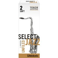 D'addario SELECT JAZZ UNFILED BB TENOR SAX Reeds, 5ct, 2 Soft Strength
