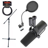Shure SM7B Dynamic Vocal Microphone Mic Boom Stand Pop Filter and Mogami Cable