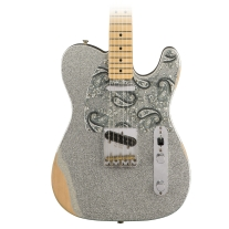 Fender Brad Paisley Road Worn Telecaster Electric Guitar in Silver Sparkle