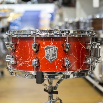 SJC Custom 6.5x14 Maple Snare Drum in Red Splatter Lacquer