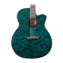 Luna Guitars Gypsy Grand Concert Acoustic-Electric Guitar Transparent Teal