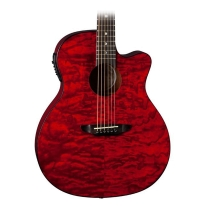 Luna Guitars Gypsy Grand Concert Acoustic-Electric Guitar Transparent Red