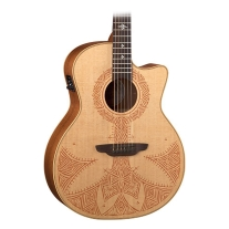 Luna Electro Acoustic Guitar Henna Sahara Solid Spruce Top