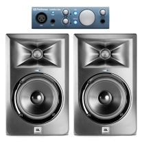 "PreSonus AudioBox iOne & JBL LSR305 5"" 2-Way Monitor Pair Bundle"
