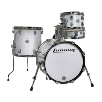 Ludwig Breakbeats 4 Pc Shell Kit in White Sparkle with Gig Bags