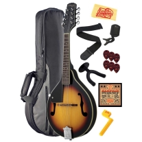Stagg M20-LH Left Handed Bluegrass Mandolin Bundle - Violinburst