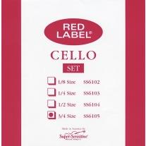 Super Sensitive SS6105 Red Label Medium Cello Strings 3/4