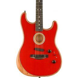 Fender Acoustasonic Stratocaster Acoustic Electric Hybrid Guitar in Dakota Red