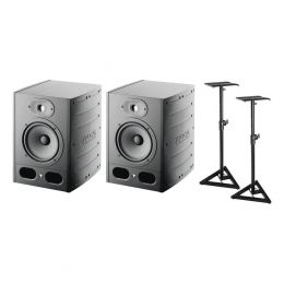 "Focal Pro ALPHA65 6.5"" Two Way Active Studio Monitor Pair Bundle with Stands"