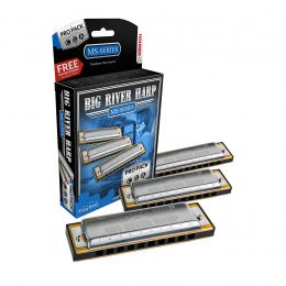 Hohner 3P590BX Big River Harmonica Keys of C, G, and A Pro Pack