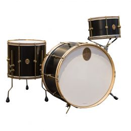 A&F Drum Company Maple Club 3-Piece Shell Kit - Black with Raw Brass Hardware