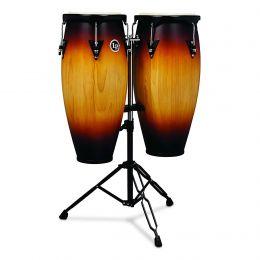 """Latin Percussion LP City Wood Congas 10"""" & 11"""" Set - Vintage Sunburst"""