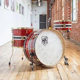 SJC Drums 3pc Maple/Mahogany 3pc Kit in Custom Stripes with Brass Hardware